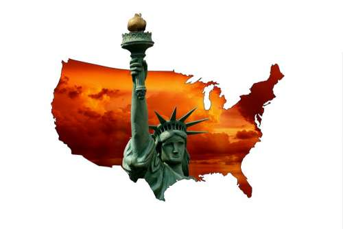 United States Of America Statue Of Liberty Map