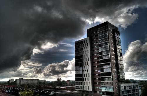 Urban High Rise Clouds Weather Storm Sunrays Sky