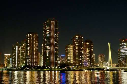Urban Night Residence Bright Refraction River