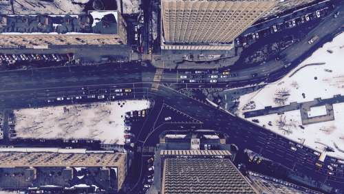Urban City Aerial View Buildings Snow City Urban