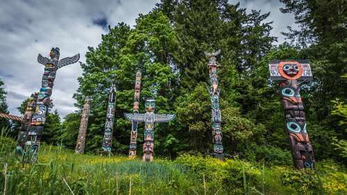 Vancouver Canada Stanley Park Religion Totem Pole