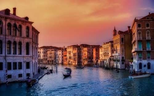 Venice Italy Boats City Urban Buildings