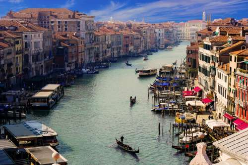 Venice Canale Grande Gondolier City Italy Channel