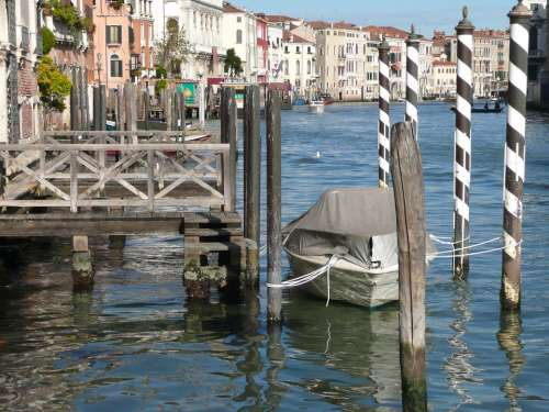Venice Canal Boat Pier Landing Italy Europe