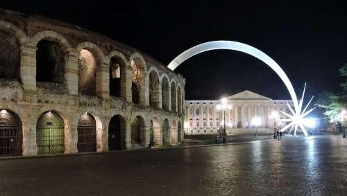 Verona Arena Comet Christmas Night Lighting Italy