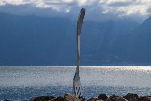 Vevey Lake Geneva Fork Lake Art Water Switzerland