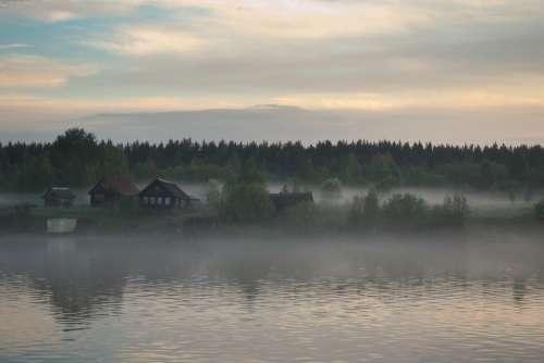 Village House Wood Beach River Morning Fog