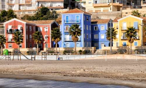 Villajoyosa Houses City Spain Colors Beach
