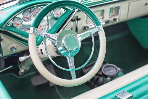 Vintage Car Turquoise Interior Steering Wheel