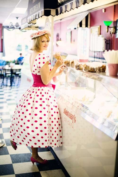 Vintage Ice Cream Parlor Pretty Young Woman Vintage