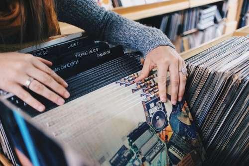 Vinyl Records Store Shopping Retro Music Audio
