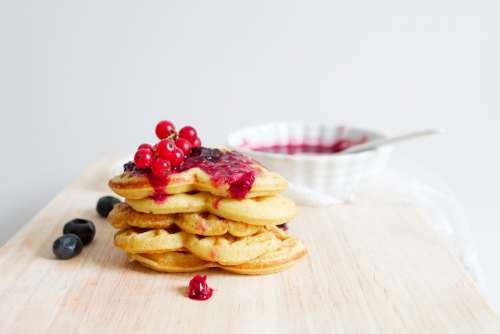 Waffle Food Dessert Red Currant Baked Fresh Sweet