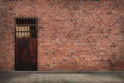 Wall Brick Texture Masonry Construction Door