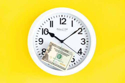Wall Clock White Clock Time Money Dollars