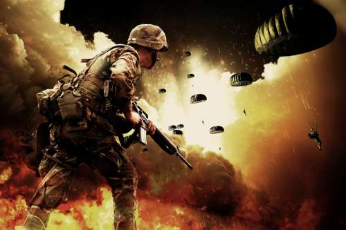 War Soldiers Warrior Paratroopers Explosion Guns