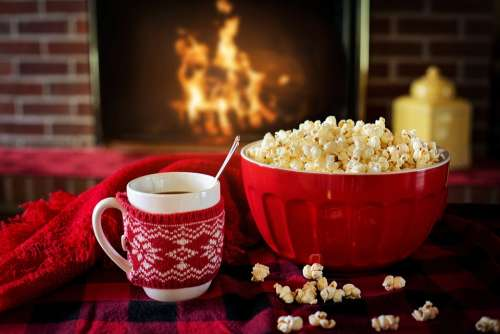 Warm And Cozy Popcorn Coffee Fireplace Cozy Warm