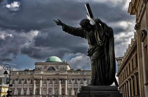 Warsaw Church Ste-Croix Jesus Christ Sky Storm
