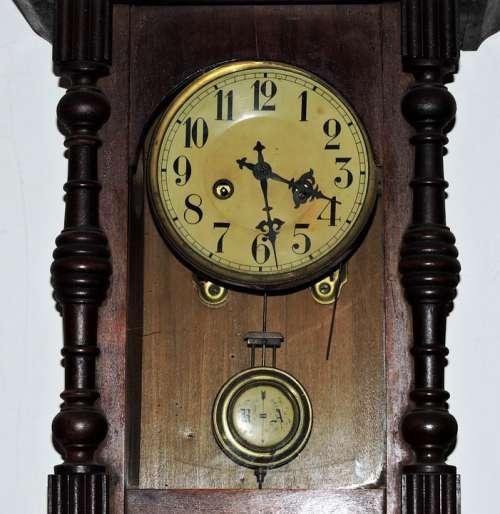 Watch Pendulum Wood Vintage Ancient Old Timetable
