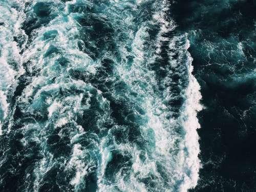 Water Sea Churning Turquoise Dark Ocean Waves