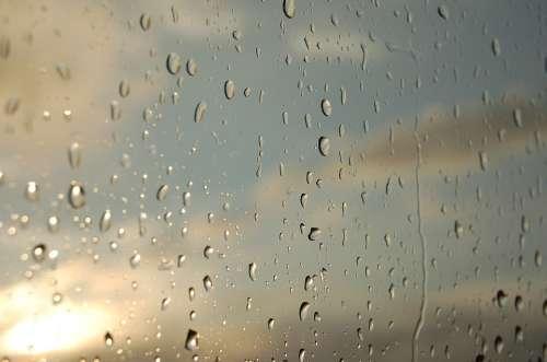 Water Sun Window Drops Wet Raindrops Rainy