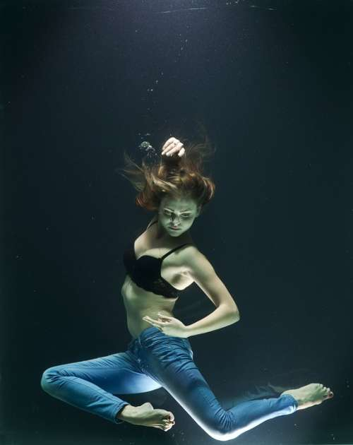 Water Drowning Fashion Model Woman Girl Dream
