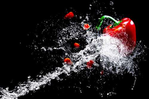 Water Paprika Vegetables Water Splashes Vegetarian