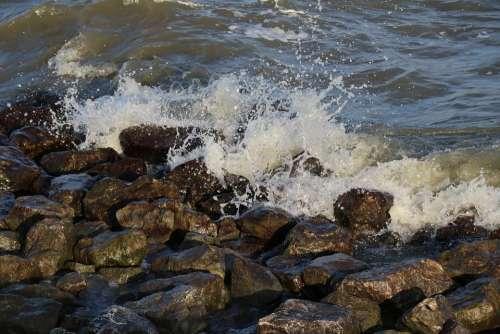 Water Nature Billow Breakwater Spray Stones