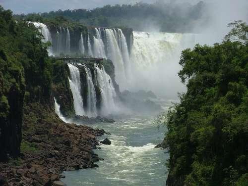 Water Nature Iguazu Landscape Cascade Falls