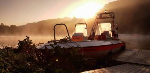Water Rescue Dlrg Boat Lifeboat Lake Sunrise Fog