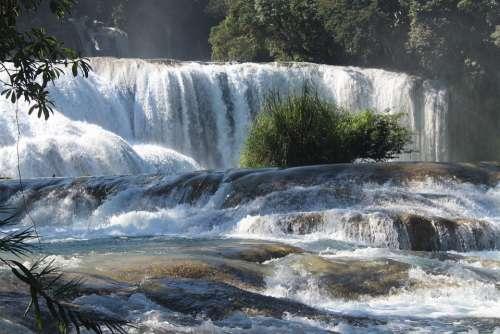 Waterfall Water Blue Chiapas Nature Swim