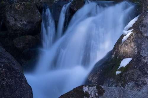 Waterfall Long Term Flow Nature Bach