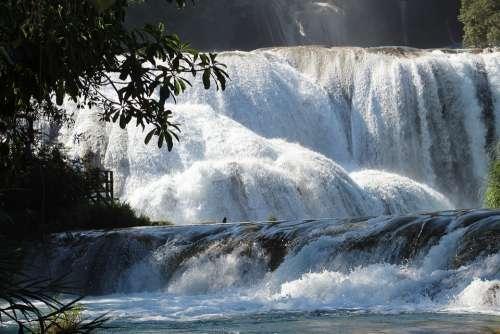 Waterfall Water Blue Chiapas Mexico Landscape