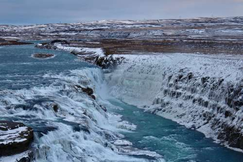 Waterfall Iceland Landscape Nature