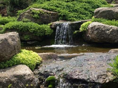 Waterfall Moss Water Nature Green Rock Landscape