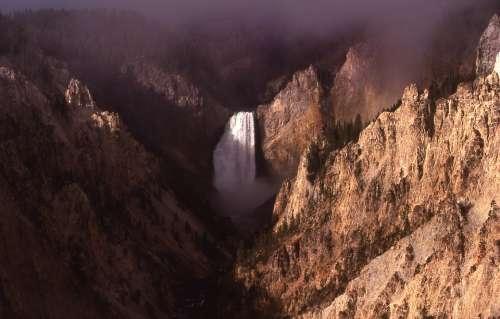 Waterfall Lower Falls Yellowstone River