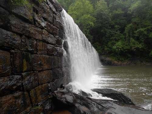 Waterfall Dam Nature River Wall Trees