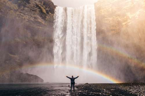 Waterfall Rainbow Spray Water Flow Cascade Person