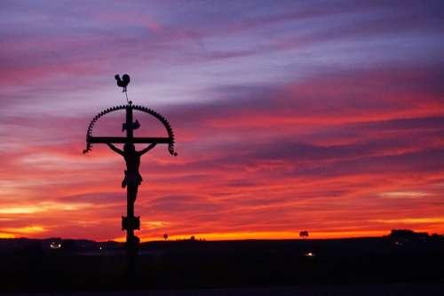 Wayside Cross Cross Jesus Atmosphere Catholic