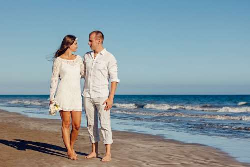 Wedding Beach Love Young Couple Romantic Ocean