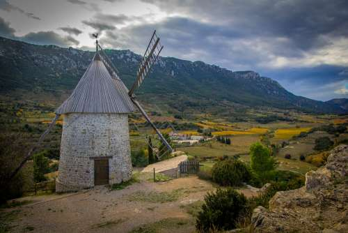 Windmill France Mill Sky Landscape