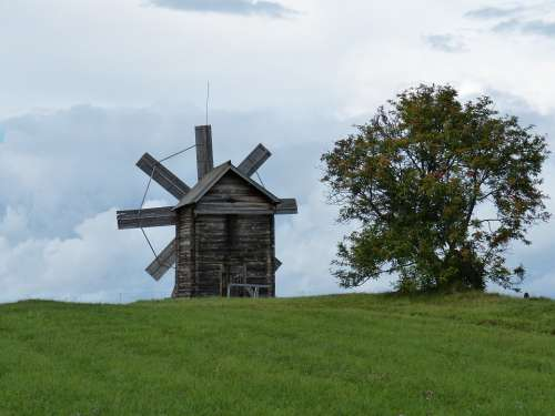 Windmill Mill Russia Wood Building Historically