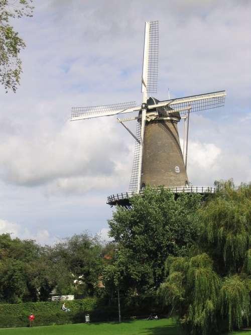 Windmill Netherlands Holland City Building