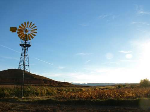Windmill Field Irrigation Well Tower