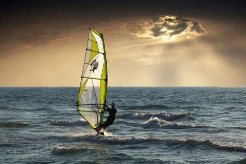 Windsurfing Sea Clouds Sunset Nature Wave Surfing