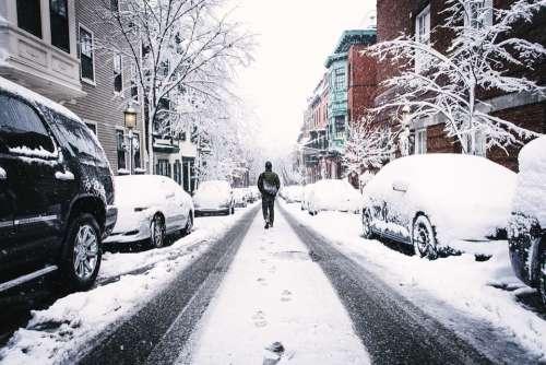 Winter Snowy Street Frozen Snow January Man