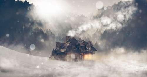 Winter Snow House Landscape Log Cabin Trees Fog