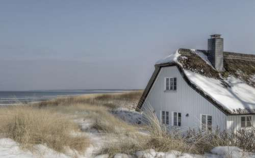 Winter House Baltic Sea Snow Cold Light Wintry
