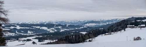 Winter Snow Landscape Mountains Hill Valleys