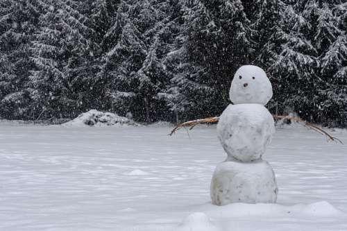 Winter Snow Snowman Landscape Cold Snowfall
