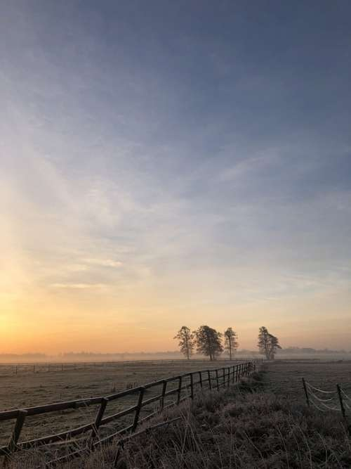 Winter Landscape Sunrise Sky Wintry Nature Mood